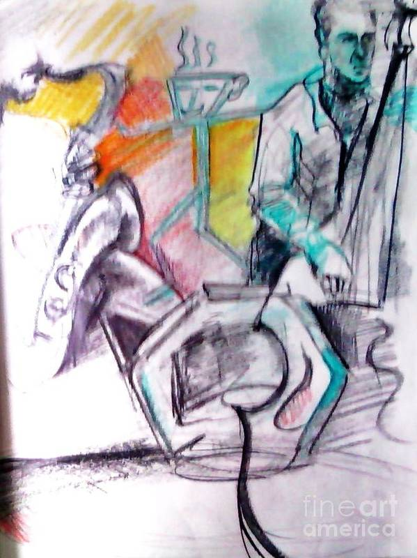 Jazz Art Print featuring the drawing Coffee House Jazz by Jamey Balester