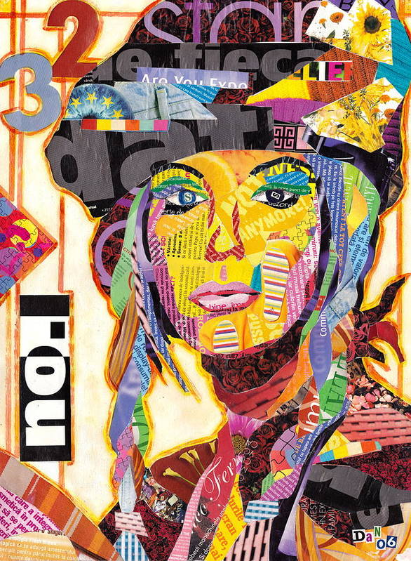 Collage Art Print featuring the mixed media Collage Portrait by Oprisor Dan