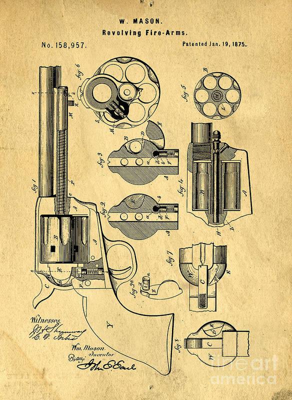 Roland Eastwood Colt-peacemaker-patent-art-blueprint-drawing-edward-fielding