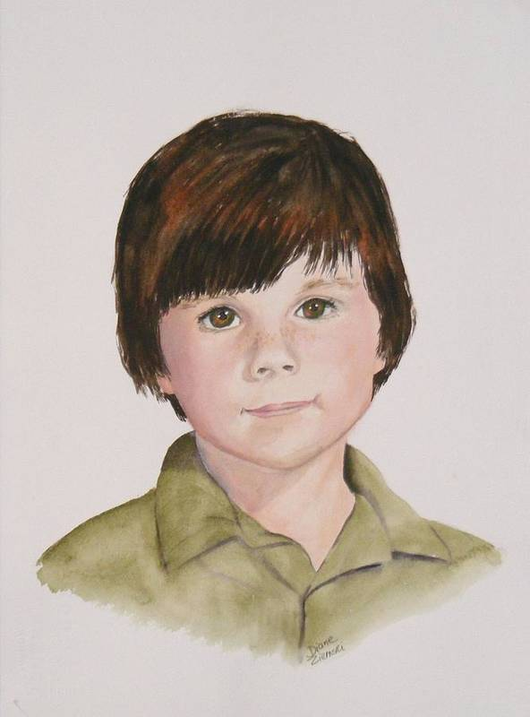 Portraits Art Print featuring the painting Commissioned Portrait 2 by Diane Ziemski
