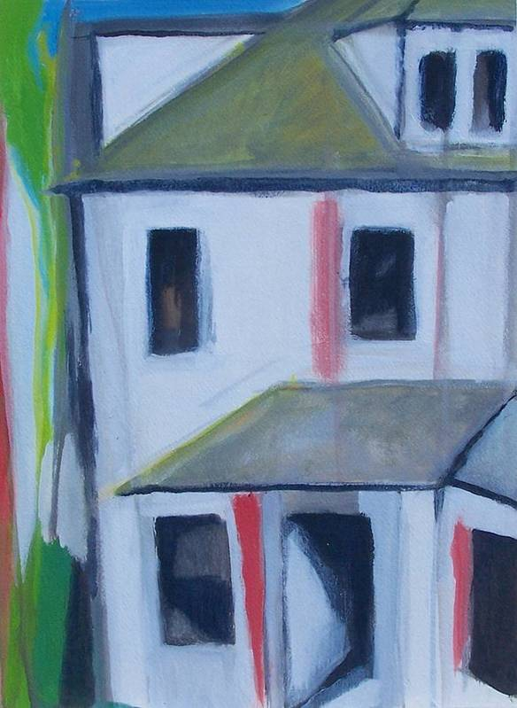 Landscape Art Print featuring the painting Corner House On Staten Island by Ron Erickson