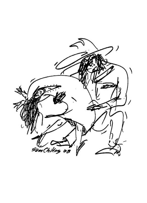 Dancing Art Print featuring the drawing Country Western by Sam Chinkes