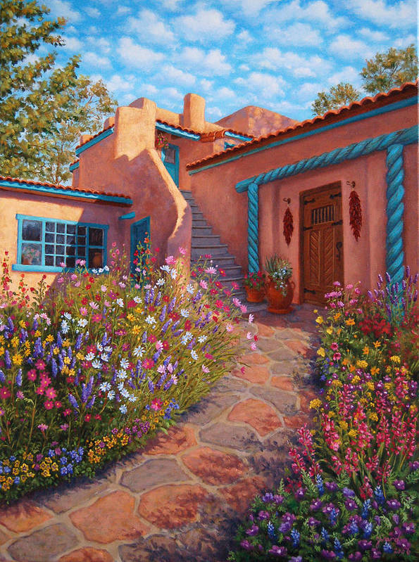 Southwest Art Print featuring the painting Courtyard Garden In Taos by Johanna Girard