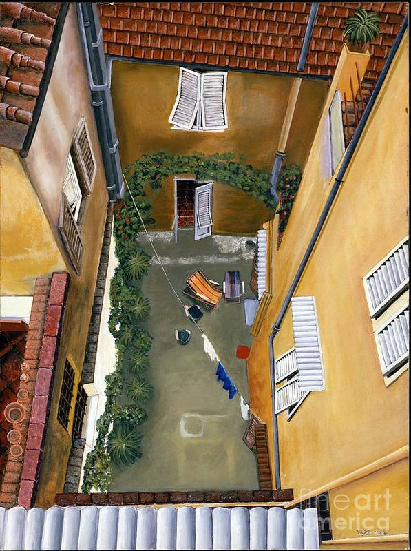 Court Yard Art Print featuring the painting Courtyard In Milan by Jiji Lee