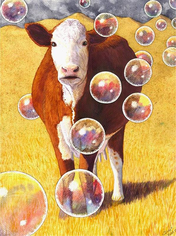 Cow Art Print featuring the painting Cow Bubbles by Catherine G McElroy