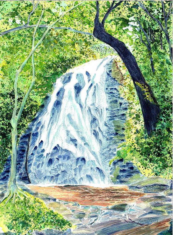 Crabtree Falls Waterfalls Blue Ridge Summer Art Print featuring the painting Crabtree Falls - Phantom Of The Blue Ridge by Joel Deutsch