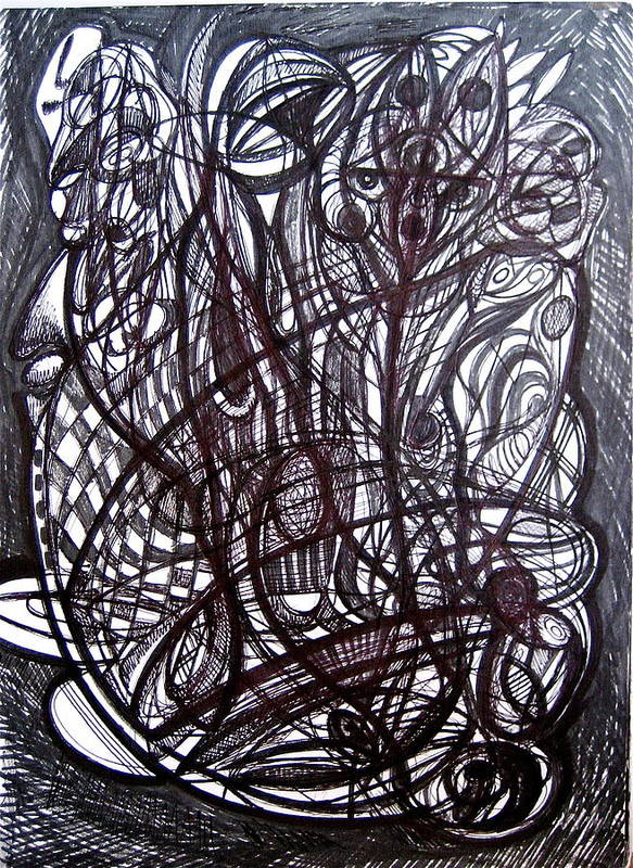 Ink Dawing Art Print featuring the drawing Cross Referencing by Stephen Hawks