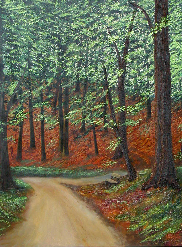 Landscape Art Print featuring the painting Crossroads by Sharon Steinhaus