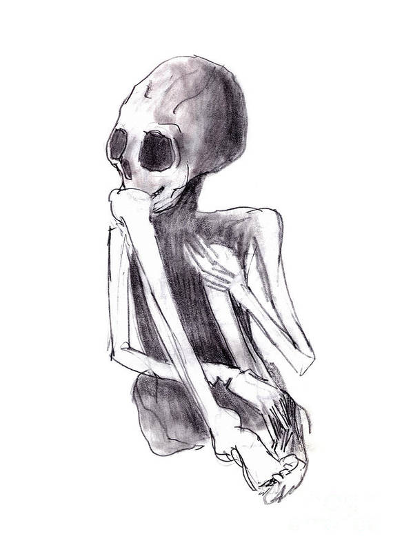 Crouched Skeleton Print featuring the drawing Crouched Skeleton by Michal Boubin
