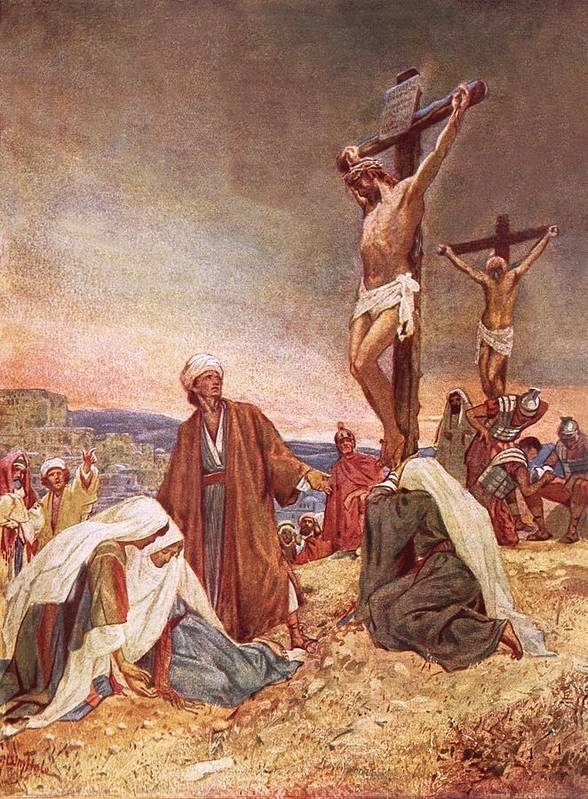 Bible; Jesus Christ; Crucifixion ;death; Weeping; Roman Soldiers Art Print featuring the painting Crucifixion by William Brassey Hole