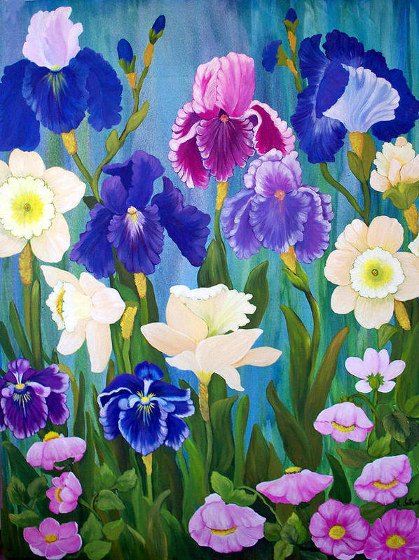 Flowers Art Print featuring the painting Cynthia's Garden by Norma Tolliver