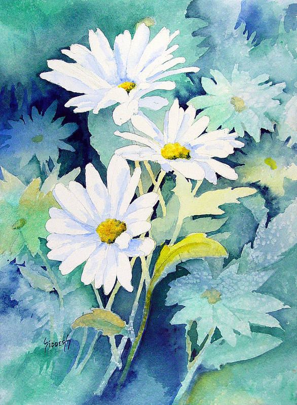 Flowers Art Print featuring the painting Daisies by Sam Sidders