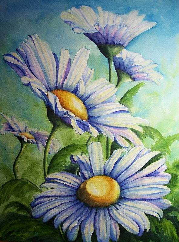 Floral Art Print featuring the painting Daisy Blue by Conni Reinecke