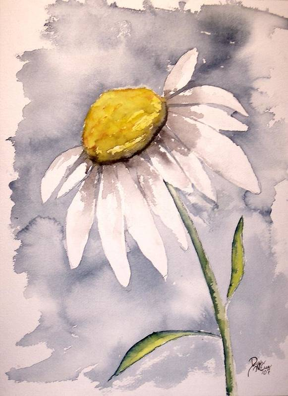 Daisy Art Print featuring the painting Daisy Modern Poster Print Fine Art by Derek Mccrea