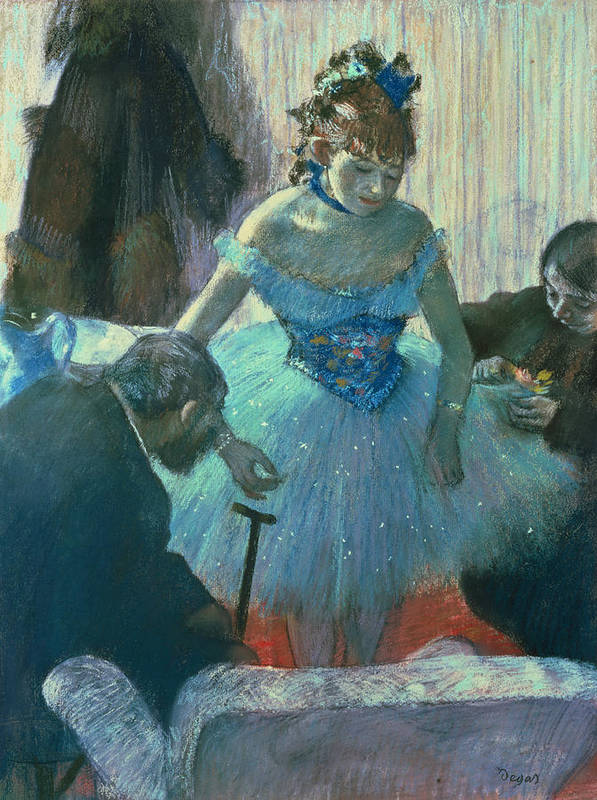 Dancer In Her Dressing Room (pastel) By Edgar Degas (1834-1917) Art Print featuring the pastel Dancer In Her Dressing Room by Edgar Degas