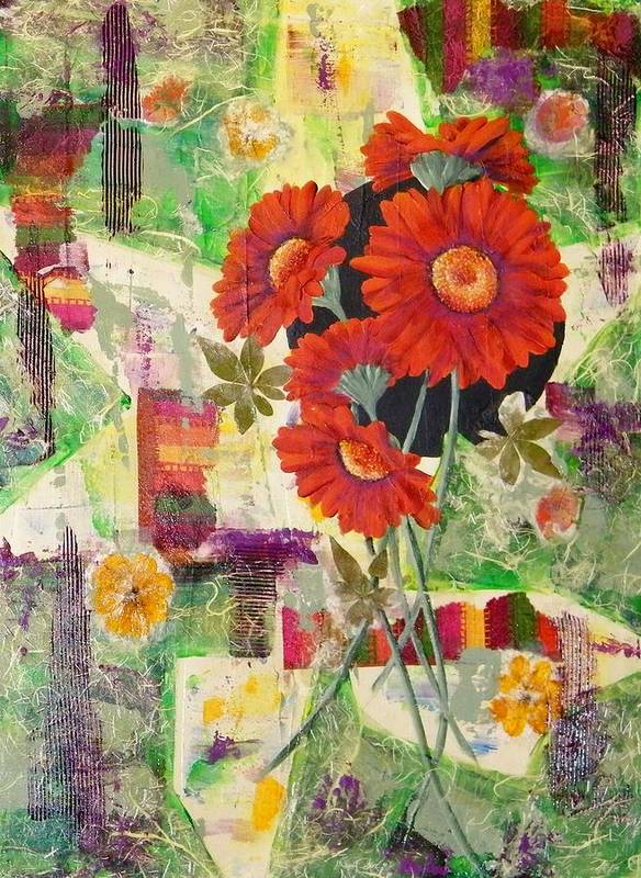 Abstract Art Print featuring the painting Dancing With The Daisies II by Terry Honstead