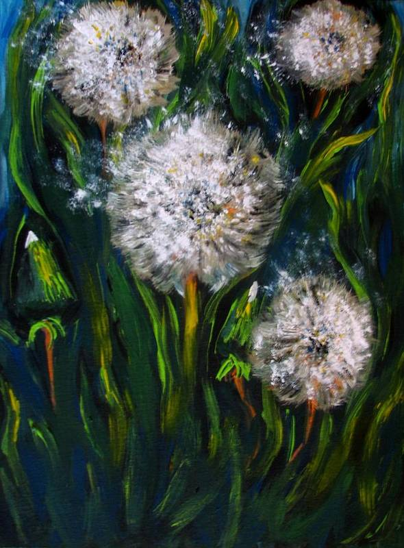 Flower Art Art Print featuring the painting Dandelions Acrylic Painting by Natalja Picugina