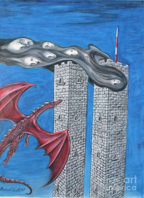 Dragons 911 September Eleventh Twin Towers Art Print featuring the drawing Dark Age 911 by Michael Cook