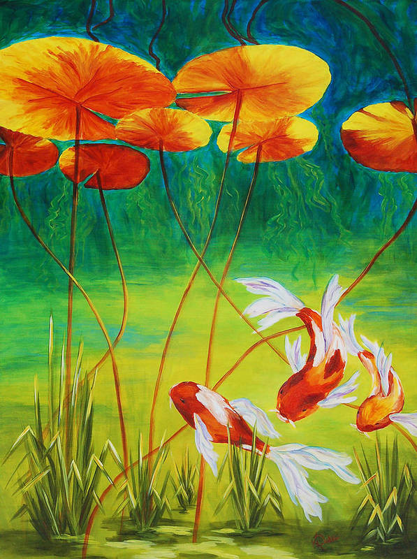 Koi Print featuring the painting Day Dreamin by Karen Dukes