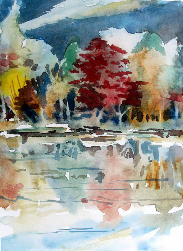Trees Art Print featuring the painting Deep Into Autumn by Mindy Newman