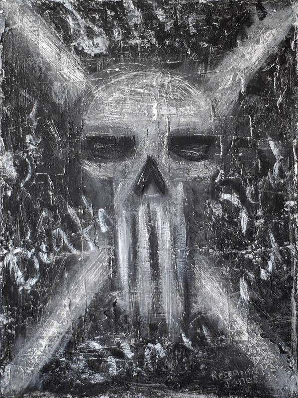 Skull Print featuring the painting Departed Darkness by Roseanne Jones