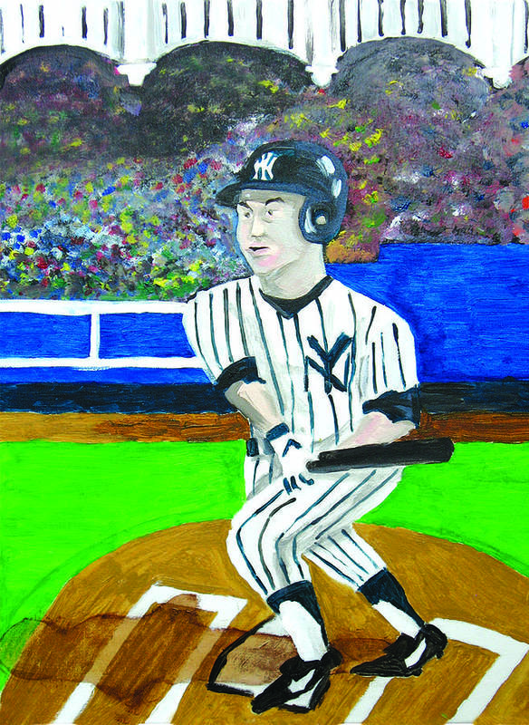 Derek Jeter Art Print featuring the painting Derek Jeter by Jeff Caturano