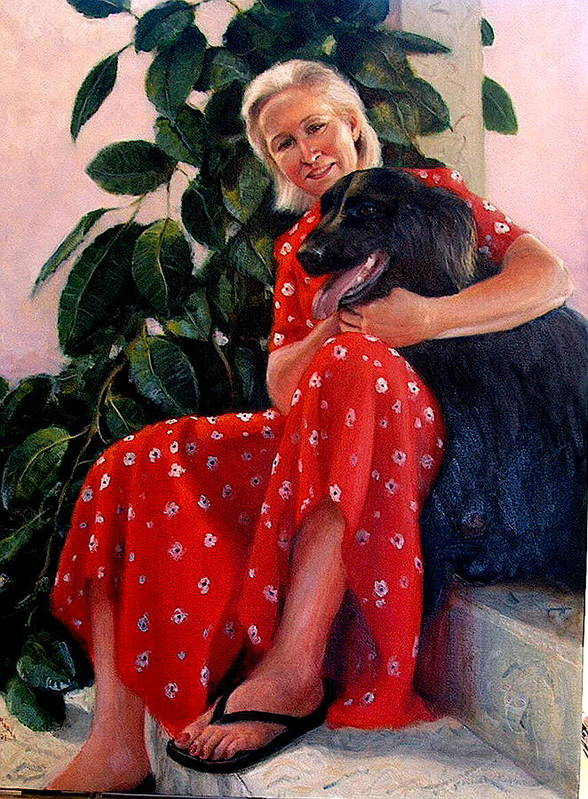 Realism Art Print featuring the painting Diane And Cinder by Donelli DiMaria