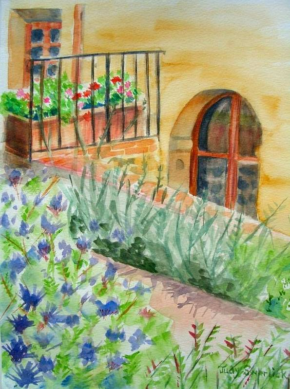 Flowers Surrounding Apartment On Vineyard Art Print featuring the painting Dievole Vineyard by Judy Swerlick