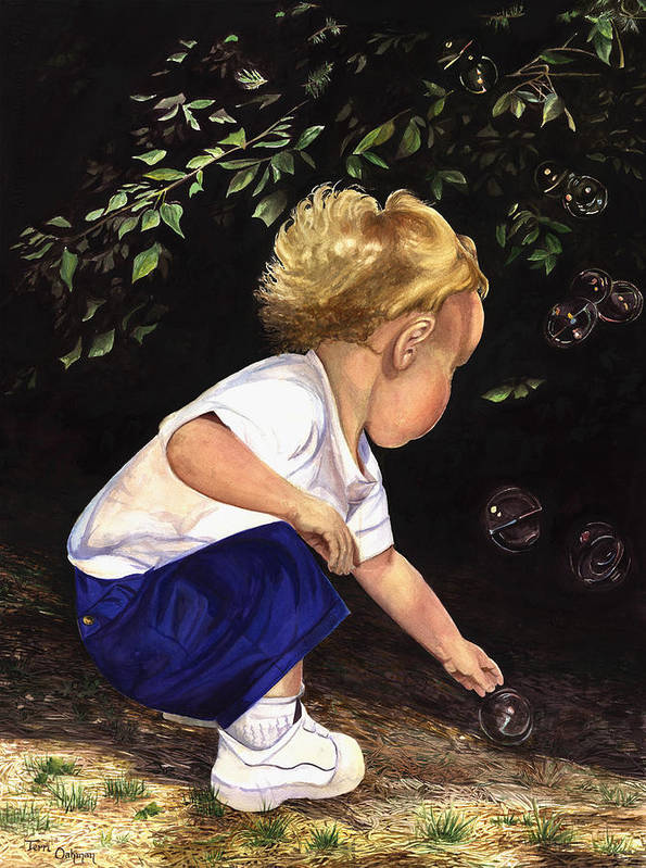 Portrait Art Print featuring the painting Discovering Bubbles by Terri Meyer