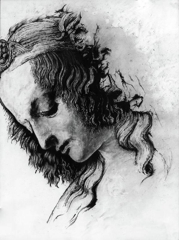 Portrait Woman Leonardo Da Vinci Italian Ancient Renaissance Reproduction Mary Magdalene Christ Code Art Print featuring the drawing Districhi Di Magdalene by Priscilla Vogelbacher