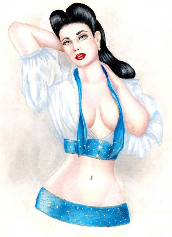 Pin-up Art Print featuring the drawing Dita by Scarlett Royal