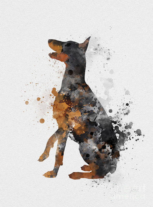 Doberman Art Print featuring the mixed media Doberman Pinscher by My Inspiration