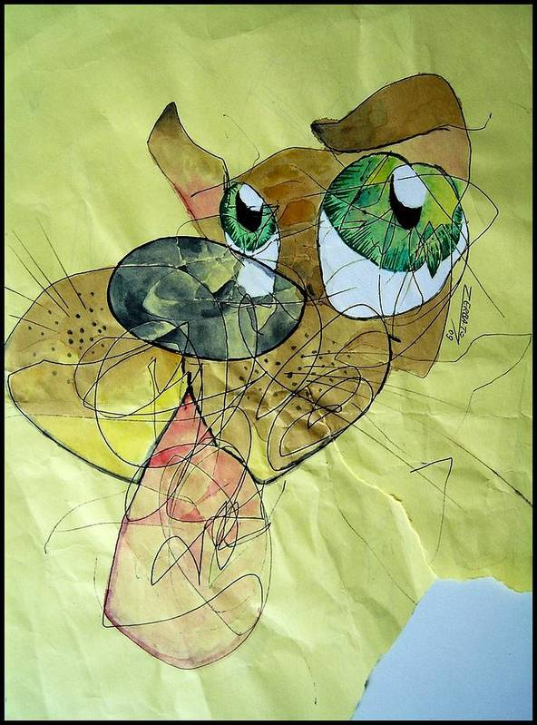 Scribbles Print featuring the digital art Dog by Paulo Zerbato