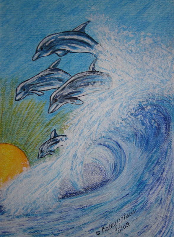 Dolphins Art Print featuring the painting Dolphins Jumping In The Waves by Kathy Marrs Chandler