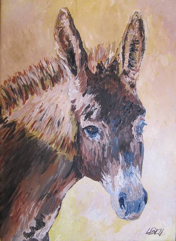 Donkey Art Print featuring the painting Donkey In The Sunlight by Leonie Bell