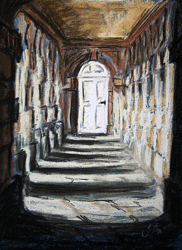 Door. Building. Architecture. Shadows. Art Print featuring the painting Doorway. by John Cox
