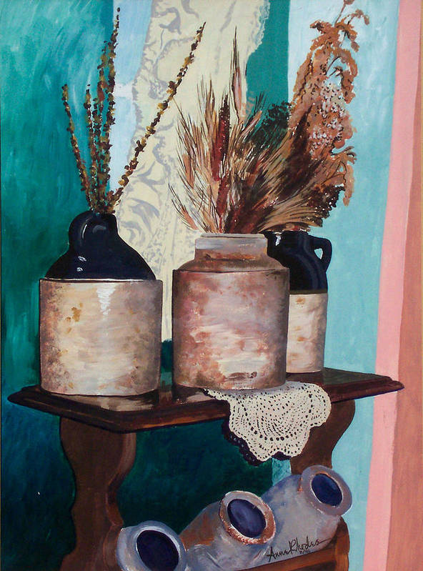 Still Life Art Print featuring the painting Dorothy's Pots by Anne Rhodes