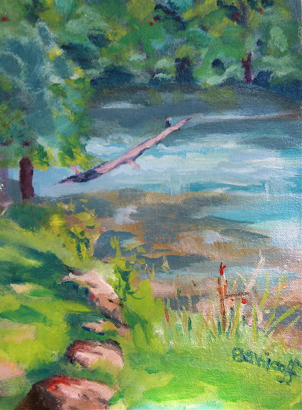 Expressionistic Landscape Art Print featuring the painting Downstream At Big Spring by Jan Bennicoff
