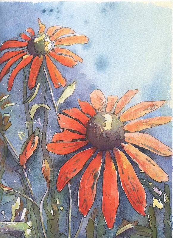 Echinacea Art Print featuring the painting Echinacea by Robynne Hardison