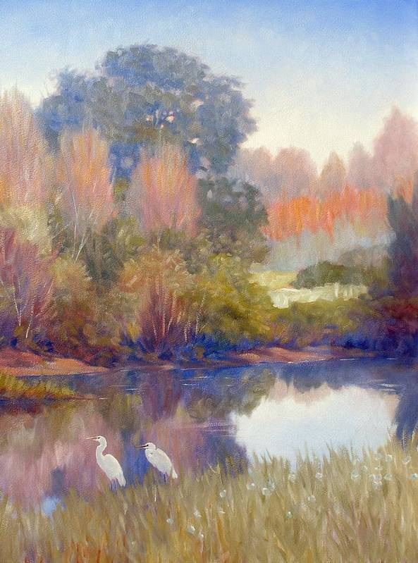 Egrets Art Print featuring the painting Egrets by Kevin Lawrence Leveque