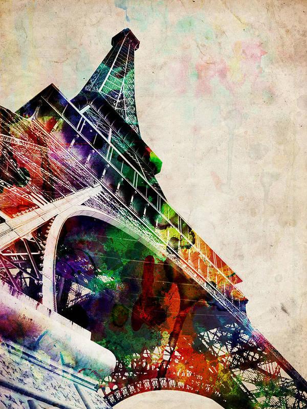 Eiffel Tower Print featuring the digital art Eiffel Tower by Michael Tompsett