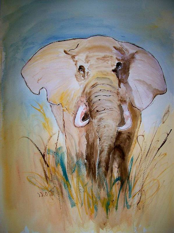 Animal Art Print featuring the painting Elephant In The Field by Leo Gordon