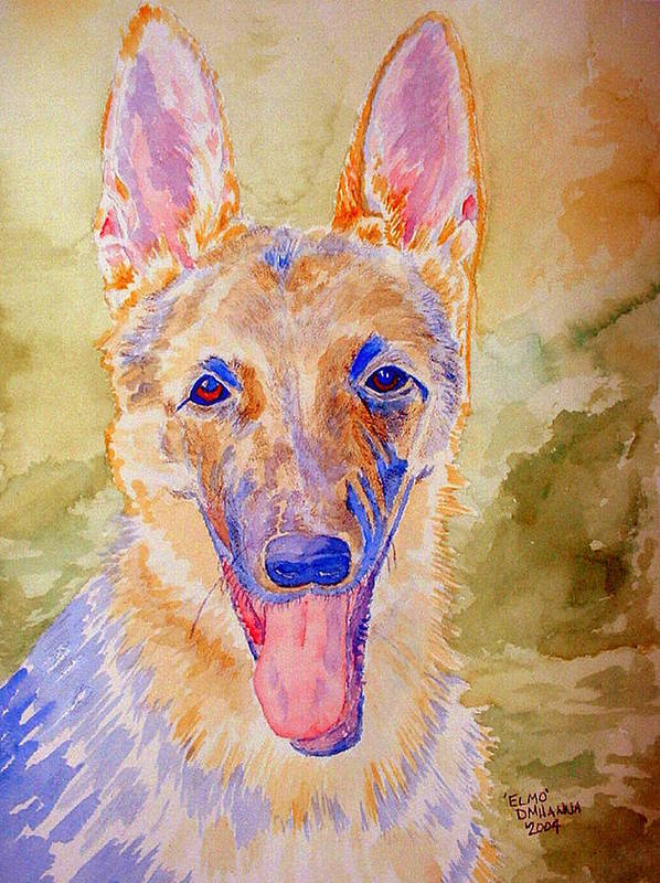 German Shepard Art Print featuring the painting Elmo - Watercolor by Donna Hanna