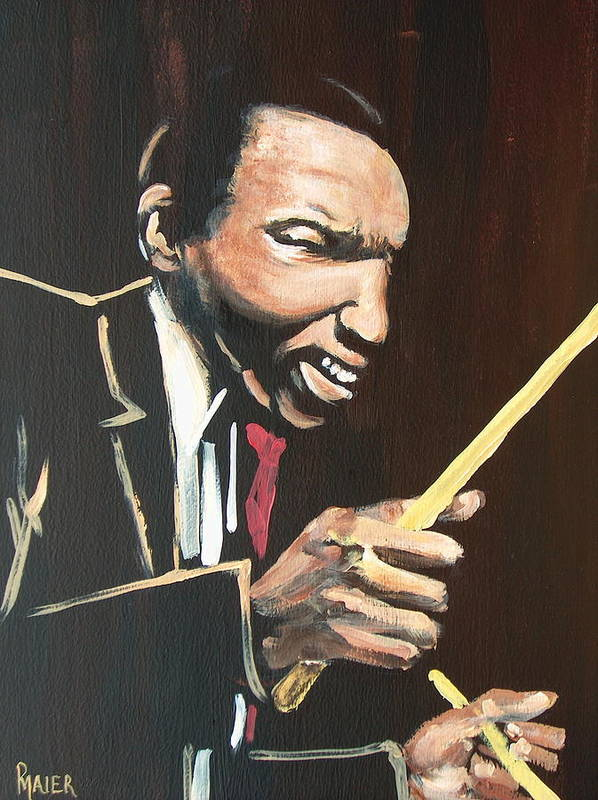 Jazz Art Print featuring the painting Elvin Vi by Pete Maier
