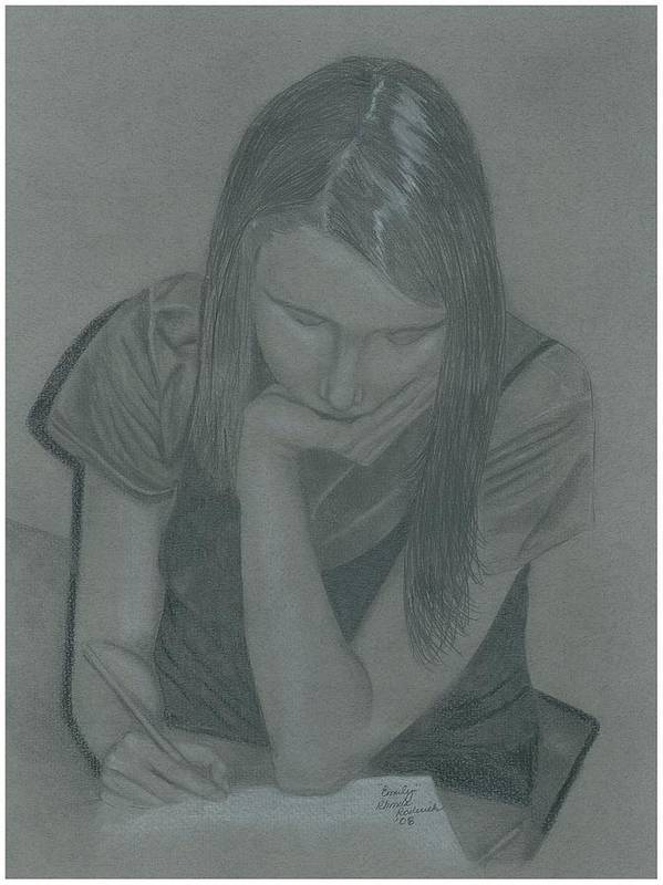 Charcoal Art Print featuring the drawing Emily by Rhonda Rodericks