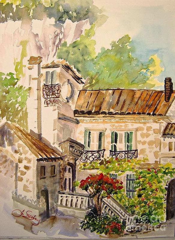 France Art Print featuring the painting En Plein Air At Moulin De La Roque France by Joanne Smoley