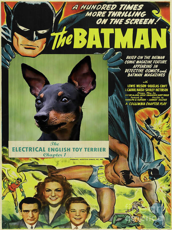 English Toy Terrier Art Print featuring the painting English Toy Terrier Art Canvas Print - Batman Movie Poster by Sandra Sij