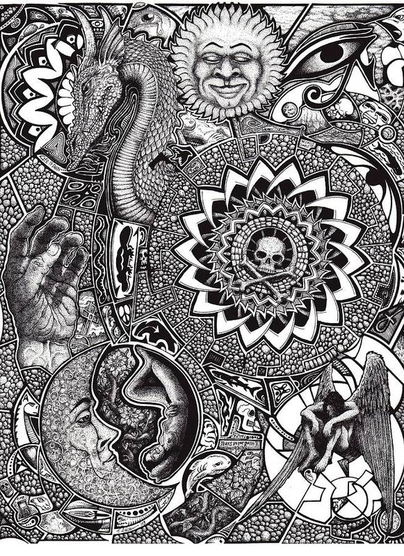 Black And White Art Print featuring the drawing Epiphany by Tobey Anderson