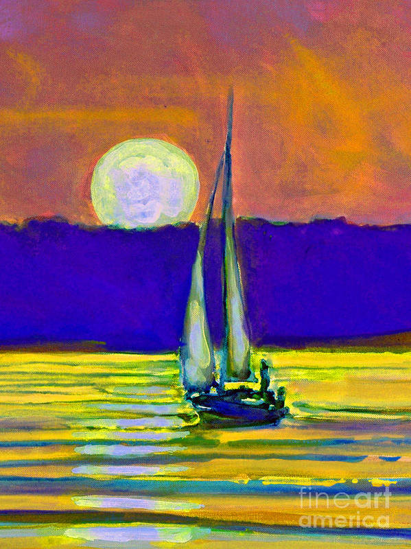 Sailing Moonlight Art Print featuring the painting Eventful Evening I by Kip Decker