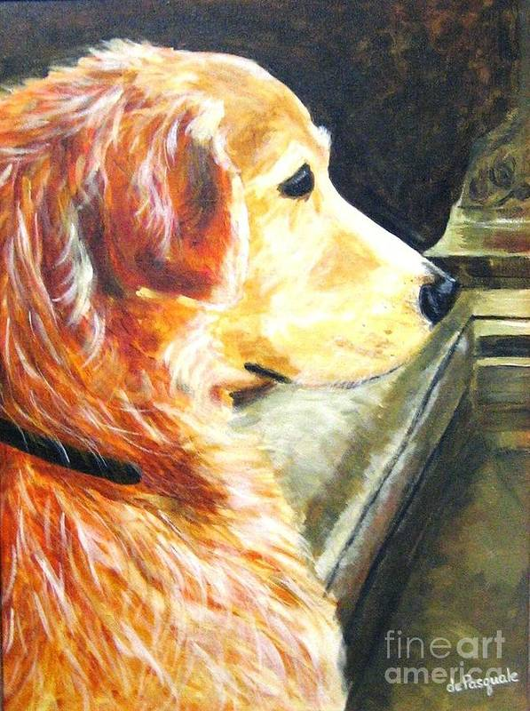 Dog Art Print featuring the painting Eyes On Ducks In Fountain by Gina DePasquale